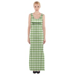 Avocado Green Gingham Classic Traditional Pattern Maxi Thigh Split Dress