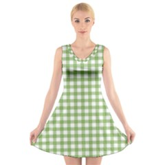 Avocado Green Gingham Classic Traditional Pattern V-Neck Sleeveless Skater Dress