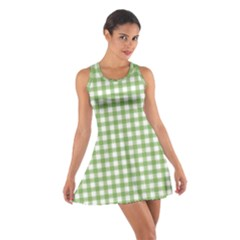 Avocado Green Gingham Classic Traditional Pattern Racerback Dresses