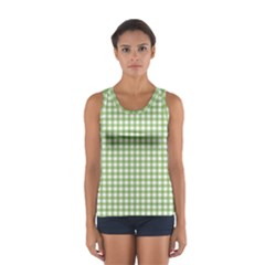 Avocado Green Gingham Classic Traditional Pattern Tops