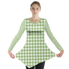 Avocado Green Gingham Classic Traditional Pattern Long Sleeve Tunic