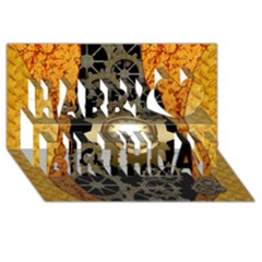 Steampunk Golden Design With Clocks And Gears Happy Birthday 3d Greeting Card (8x4)