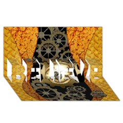 Steampunk Golden Design With Clocks And Gears Believe 3d Greeting Card (8x4)