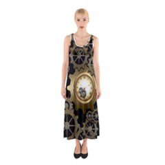 Steampunk Golden Design With Clocks And Gears Sleeveless Maxi Dress
