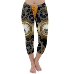 Steampunk Golden Design With Clocks And Gears Capri Winter Leggings