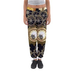 Steampunk Golden Design With Clocks And Gears Women s Jogger Sweatpants