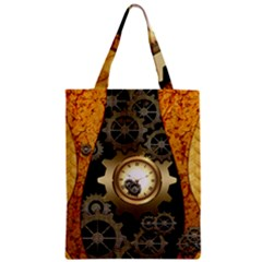 Steampunk Golden Design With Clocks And Gears Zipper Classic Tote Bag