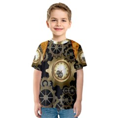 Steampunk Golden Design With Clocks And Gears Kid s Sport Mesh Tee
