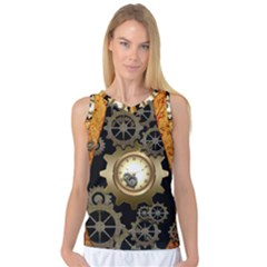 Steampunk Golden Design With Clocks And Gears Women s Basketball Tank Top
