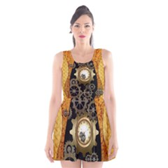 Steampunk Golden Design With Clocks And Gears Scoop Neck Skater Dress
