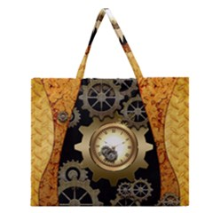 Steampunk Golden Design With Clocks And Gears Zipper Large Tote Bag