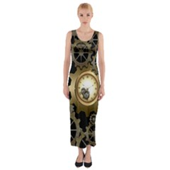 Steampunk Golden Design With Clocks And Gears Fitted Maxi Dress