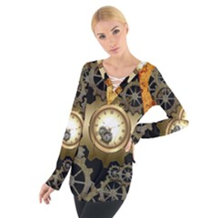 Steampunk Golden Design With Clocks And Gears Women s Tie Up Tee
