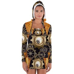 Steampunk Golden Design With Clocks And Gears Women s Long Sleeve Hooded T-shirt