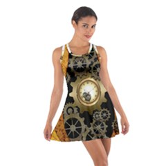 Steampunk Golden Design With Clocks And Gears Racerback Dresses