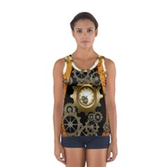 Steampunk Golden Design With Clocks And Gears Tops