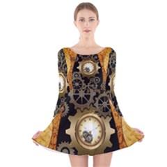 Steampunk Golden Design With Clocks And Gears Long Sleeve Velvet Skater Dress