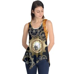 Steampunk Golden Design With Clocks And Gears Sleeveless Tunic