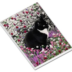 Freckles In Flowers Ii, Black White Tux Cat Large Memo Pads