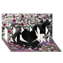 Freckles In Flowers Ii, Black White Tux Cat Mom 3d Greeting Card (8x4)