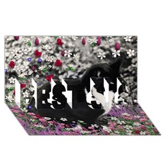 Freckles In Flowers Ii, Black White Tux Cat Best Sis 3d Greeting Card (8x4)