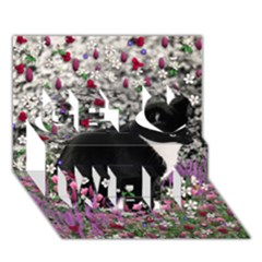 Freckles In Flowers Ii, Black White Tux Cat Get Well 3d Greeting Card (7x5)