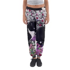 Freckles In Flowers Ii, Black White Tux Cat Women s Jogger Sweatpants