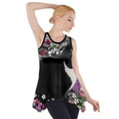 Freckles In Flowers Ii, Black White Tux Cat Side Drop Tank Tunic