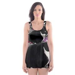 Freckles In Flowers Ii, Black White Tux Cat Skater Dress Swimsuit