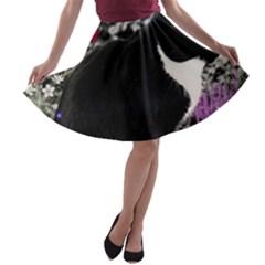 Freckles In Flowers Ii, Black White Tux Cat A Line Skater Skirt
