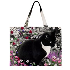 Freckles In Flowers Ii, Black White Tux Cat Zipper Large Tote Bag