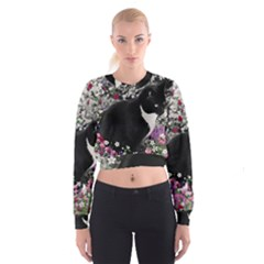 Freckles In Flowers Ii, Black White Tux Cat Women s Cropped Sweatshirt