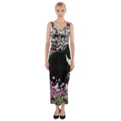 Freckles In Flowers Ii, Black White Tux Cat Fitted Maxi Dress