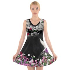 Freckles In Flowers Ii, Black White Tux Cat V-Neck Sleeveless Skater Dress