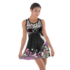 Freckles In Flowers Ii, Black White Tux Cat Racerback Dresses