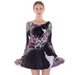 Freckles In Flowers Ii, Black White Tux Cat Long Sleeve Velvet Skater Dress