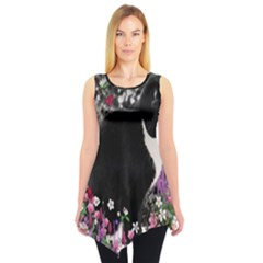 Freckles In Flowers Ii, Black White Tux Cat Sleeveless Tunic