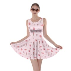 Cute Pink Birds And Flowers Pattern Skater Dress