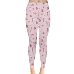 Cute Pink Birds And Flowers Pattern Leggings