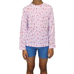Cute Pink Birds And Flowers Pattern Kid s Long Sleeve Swimwear