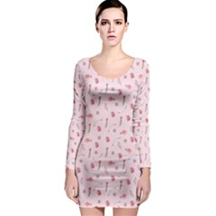Cute Pink Birds And Flowers Pattern Long Sleeve Bodycon Dress