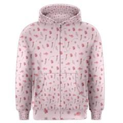 Cute Pink Birds And Flowers Pattern Men s Zipper Hoodie