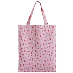 Cute Pink Birds And Flowers Pattern Zipper Classic Tote Bag