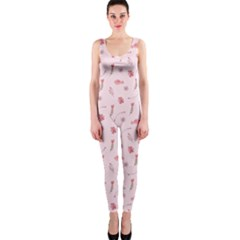 Cute Pink Birds And Flowers Pattern OnePiece Catsuit