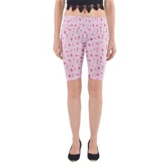 Cute Pink Birds And Flowers Pattern Yoga Cropped Leggings
