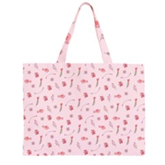 Cute Pink Birds And Flowers Pattern Large Tote Bag