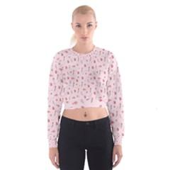 Cute Pink Birds And Flowers Pattern Women s Cropped Sweatshirt