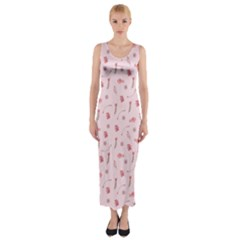 Cute Pink Birds And Flowers Pattern Fitted Maxi Dress