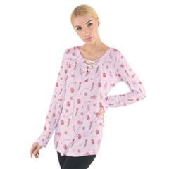 Cute Pink Birds And Flowers Pattern Women s Tie Up Tee