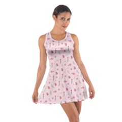 Cute Pink Birds And Flowers Pattern Racerback Dresses